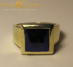 Unisex 5.62ct CZ Sapphire Comfort Fit Ring Jewellers Bronze Dipped in 9ct Gold