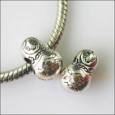 3Pcs Antiqued Silver Russian Dolls Spacer Beads fit European Charm Bracelets