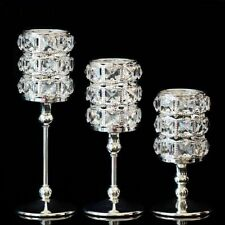 Crystal Candlestick Luxury Silver Wedding Decoration Candle Holder Metal Golden