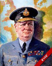 WINSTON CHURCHILL RAF UNIFORM PAINTING BRITISH WAR HISTORY ART REAL CANVAS PRINT