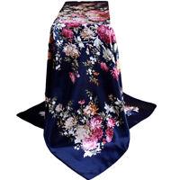 EG _Mode Pivoine Fleur Automne Hiver Femme Foulard carré couvre cou 90x90cm Cla