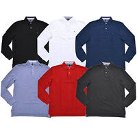 Tommy Hilfiger Mens Polo Shirt Long Sleeve Classic Fit Mesh Knit Flag Logo New