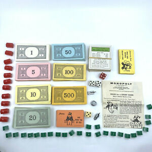 Vintage 1961 Monopoly Replacement Parts Pieces: Tokens, Chance, Comminity Chest