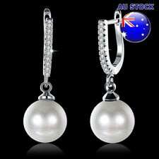 Simple Style Pearl Hoop Dangly Earrings Wholesale 18K White Gold Filled Classic