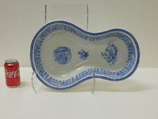 HUGE Antique 1880s Blue Staffordshire Transferware Footbath Commode Victorian