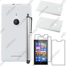 Housse Etui Coque Silicone S-line Blanc Nokia Lumia 925 + Stylet + 3 Film écran