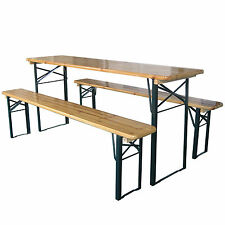 X-LARGE OUTDOOR FOLDING BEER TABLE BENCH SET TRESTLE GARDEN PUB FURNITURE PARTY