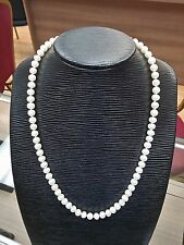 Vintage Natural Fresh Water Pearl Necklace Strand 14k Yellow Gold 24.5""