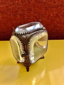 French Antique Ormolu Jewelry Trinket Vanity Box Casket vitrine Beveled Glass