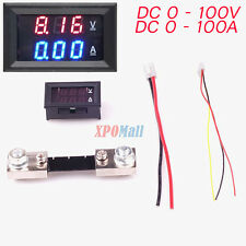DC 100V 100A Voltmeter Two color blue and red Display Current Shunt DC 0 - 100V
