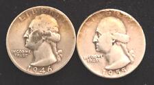Washington 90% Silver Quarters lot of 2, 1955 and 1946 P mint ! GOOD SHAPE.