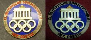 Games of the XI Olympiad BERLIN 1936 PAIR INTERNATIONAL PRESS BADGE HALLMARKED!!