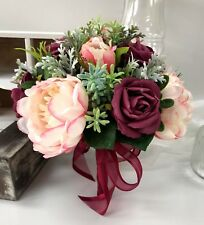 SILK WEDDING BOUQUET VINTAGE DUSTY PINK BURGUNDY PEONY ROSES BOUQUETS FLOWERS
