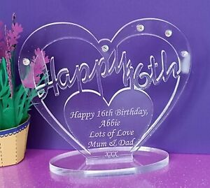 Personalised Freestanding Heart for 16th 18th 30th 40th 50 Birthday Gift Message