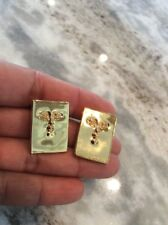Beautiful Sergio Bustamante sterling silver  925 face 2 Tones earrings