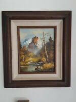Vintage EUGENE WOOD Mountain Landscape Oil Painting dated documented NICE!
