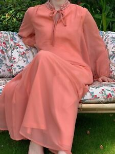 Vintage 60s Long Maxi Floaty Lined Chiffon Tent Evening Dress Coral Peach UK 12
