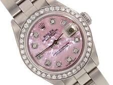 ROLEX SS LADIES DATEJUST PINK MOP DIAL  DIAMOND BEZEL OYSTER BRACELET WATCH