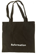 "REFORMATION Black Cotton Canvas Logo Tote Bag 12.5""H x 13.25""W - 2 Handles"