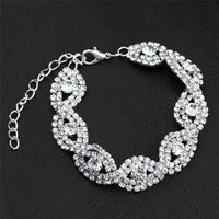 Elegant Women Crystal Rhinestone Infinity Bangle Bracelet Deluxe Jewelry Gift