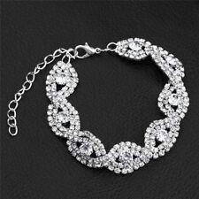 Elegant Women Crystal Rhinestone Infinity Bangle Bracelet Deluxe Jewelry Gift M0