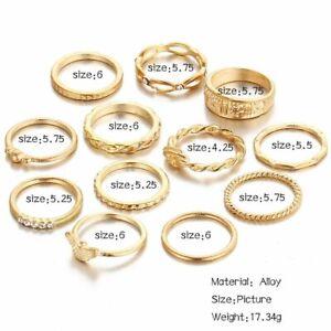 Silver/Gold Boho Punk Stack Plain Above Knuckle Ring Midi Finger Rings Set Gift