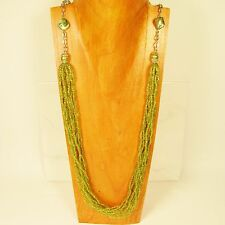 "34"" Long Multi Strand Lime Green Glass Pearl Handmade Seed Bead Necklace"
