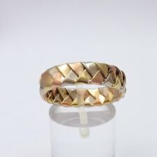 14k Tri- Color Gold Braided 6mm Wedding Band Thumb Ring Sz 10