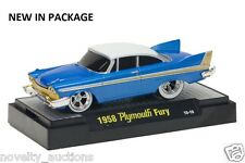 M38  81161 03 M2 MACHINES GROUND POUNDERS 1958 PLYMOUTH FURY  BLUE 1:64