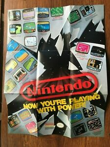 Now You're Playing With Power Foldable Poster NES Nintendo Manual Only