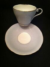 Aynsley English Bone China Teacup & Saucer, Mottled Blue/Gray W/Gold Trim