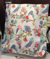 Gisela Graham Bird Song Pattern PVC Tall Wash Bag Blue Green Pink Travel Holiday