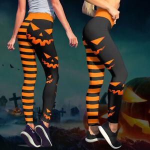 Womens Halloween Pumpkin Leggings Pencil Pants High Waist Stretchy Trousers