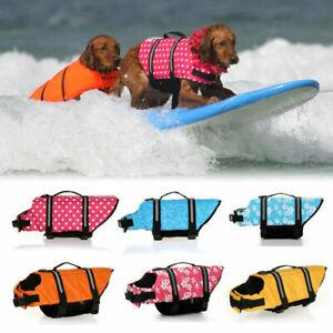 Pet Dog Life Jacket Swimming Float Vest Reflective Buoyancy Sailing Aid XS-XL~