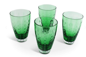 Vagabond House HI-BALL Glasses GLASS- FOREST DEW- GREEN SET OF 4 New
