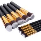 10 x Kabuki Style Professional Make up Brush Set Foundation Blusher Face Powder