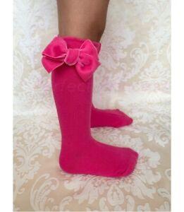 PERFECT PRINCESS Spanish Knee High Velvet Bow Socks. Baby/Girls/School Uniform