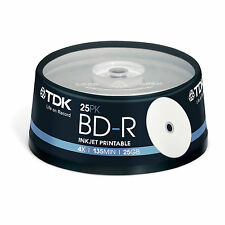 Original TDK Bd-r 25gb Printable Full Face 4x Spindle 25 Blue Ray T43007