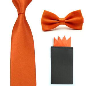 Men's Solid Skinny 5CM Tie Bow Tie With Handkerchief Pocket Square Set SET31