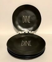 """Rae Dunn Black 'DINE' Ceramic 11"""" Dinner Plates with Large Letters - Set Of 4."""
