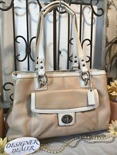 Auth ~COACH~ Penelope  Leather Carryall Putty & Off White  # 19044 VGV! Medium