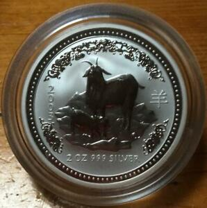 2003 YEAR OF THE GOAT..2 OZ SILVER LUNAR ISSUE in CAPSULE..SERIES ONE..SCARCE.