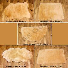 Soft Fluffy Plain Washable Beige Cream Colour Fake Faux Fur Sheepskin Rugs Half Moon 70x137cm