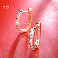 18K YELLOW WHITE GOLD GF HUGGIES CLEAR CRYSTAL EARRINGS