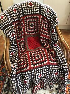 Vintage Handmade Brown White Red Afghan Blanket Throw Crochet  Squares Blanket