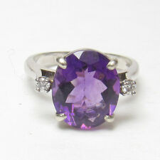 Estate $1800 14K White Gold 4.40 Ct Natural Purple Amethyst And Diamond Ring