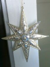 Double Sided Eight Point Silver Plastic Star with raised star Christmas Ornament