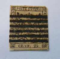 1852 ITALIAN STATE MODENA COAT OF ARMS 25C USED STAMP