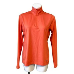 Nike Golf 1/4 Zip Pullover Large Orange Dri Fit Stand Up Collar Long Sleeve