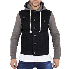 MENS HOODY HOODED DENIM JACKET STONEWASH  CAMOUFLAGE BLACK JERSEY SLEEVES JSE